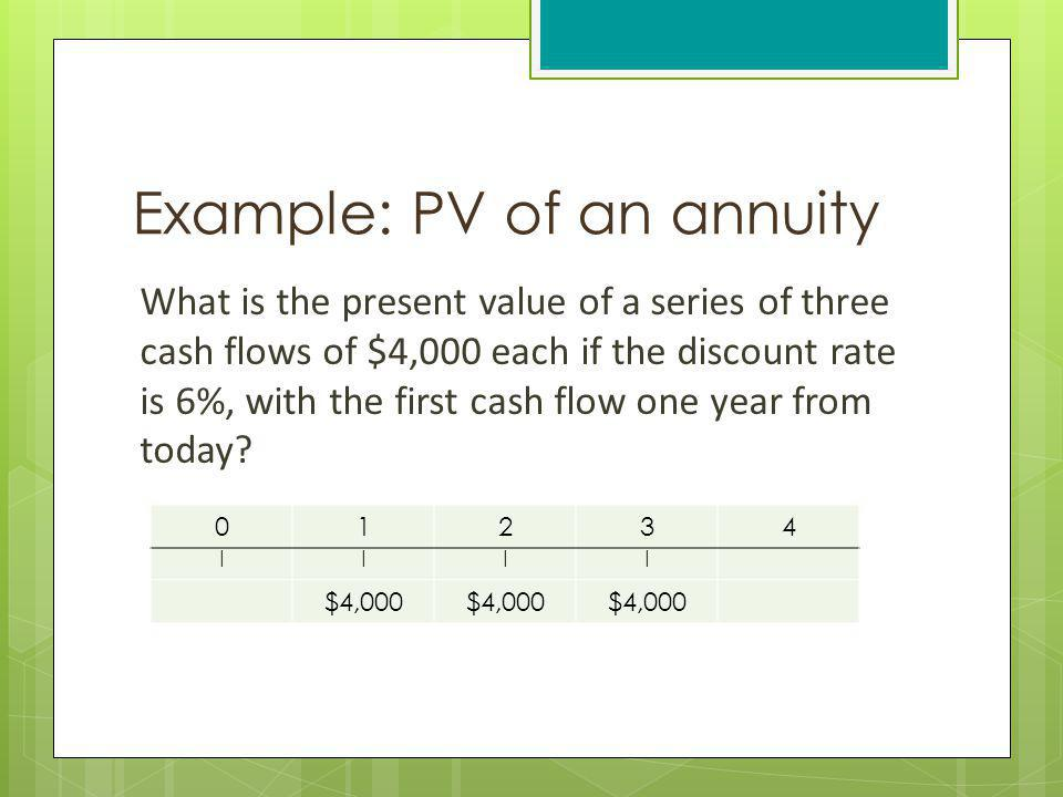 Example: PV of an annuity What is the present value of a series of three cash flows of $4,000 each if the discount rate is 6%, with the first cash flo