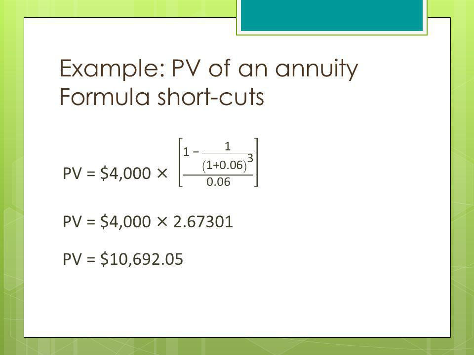 Example: PV of an annuity Formula short-cuts