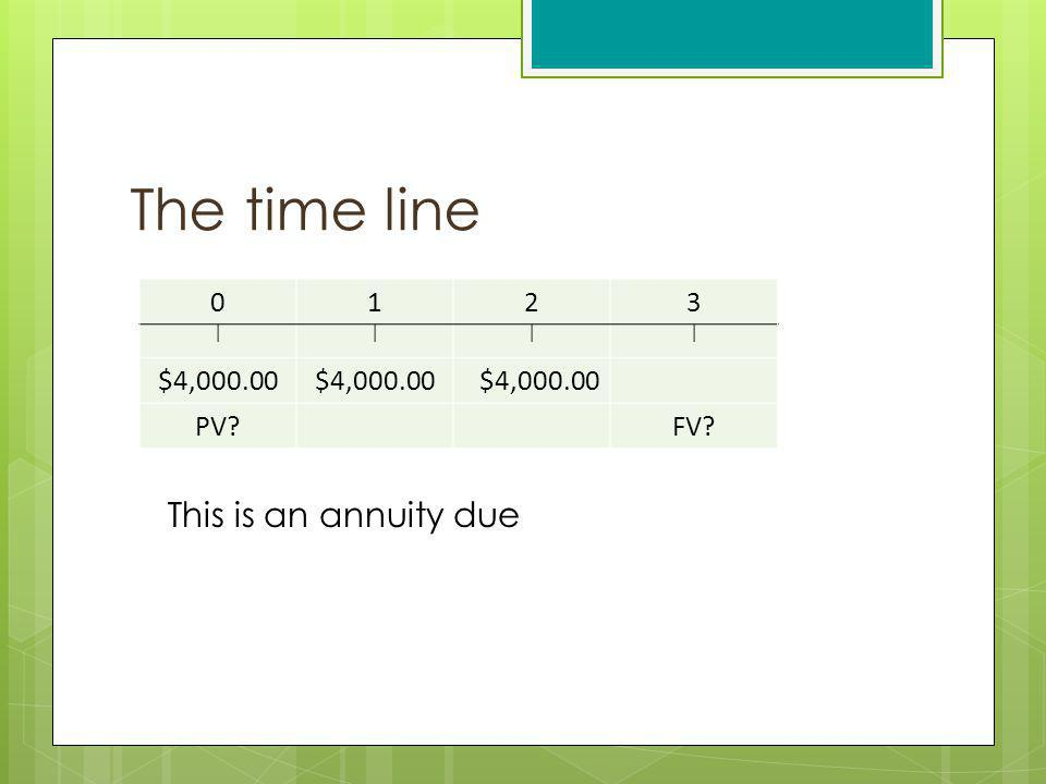 The time line 0123 |||| $4,000.00 PV?FV? This is an annuity due