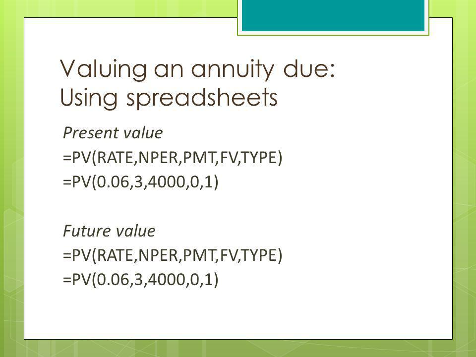 Valuing an annuity due: Using spreadsheets Present value =PV(RATE,NPER,PMT,FV,TYPE) =PV(0.06,3,4000,0,1) Future value =PV(RATE,NPER,PMT,FV,TYPE) =PV(0