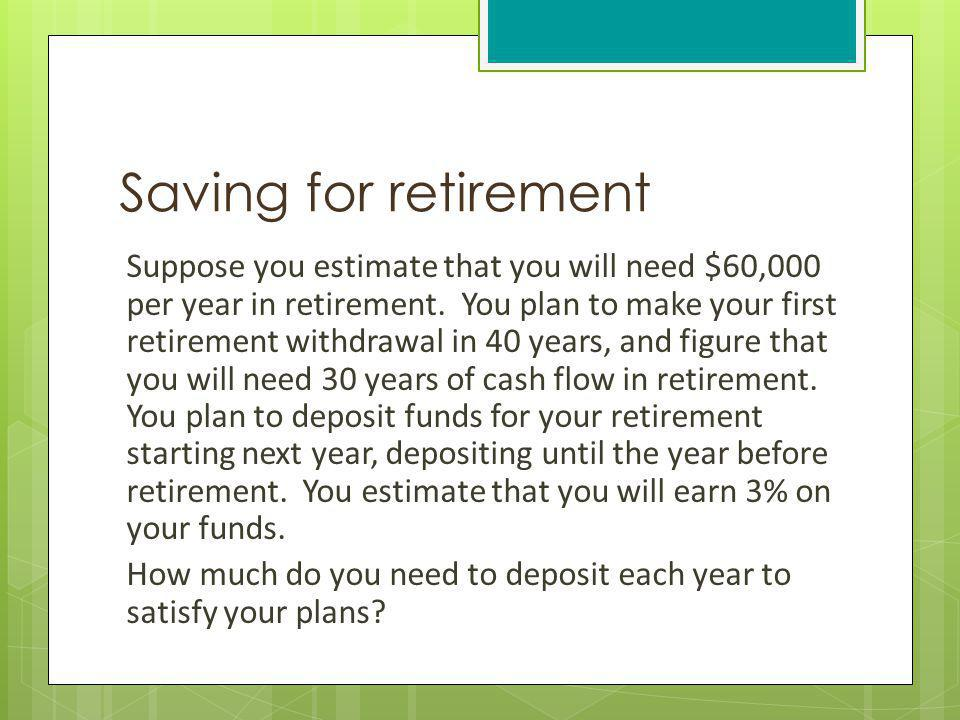 Saving for retirement Suppose you estimate that you will need $60,000 per year in retirement. You plan to make your first retirement withdrawal in 40