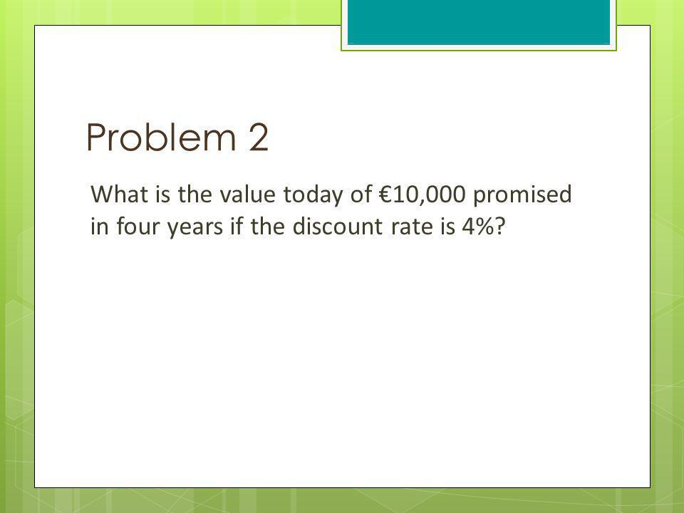 Problem 2 What is the value today of 10,000 promised in four years if the discount rate is 4%?