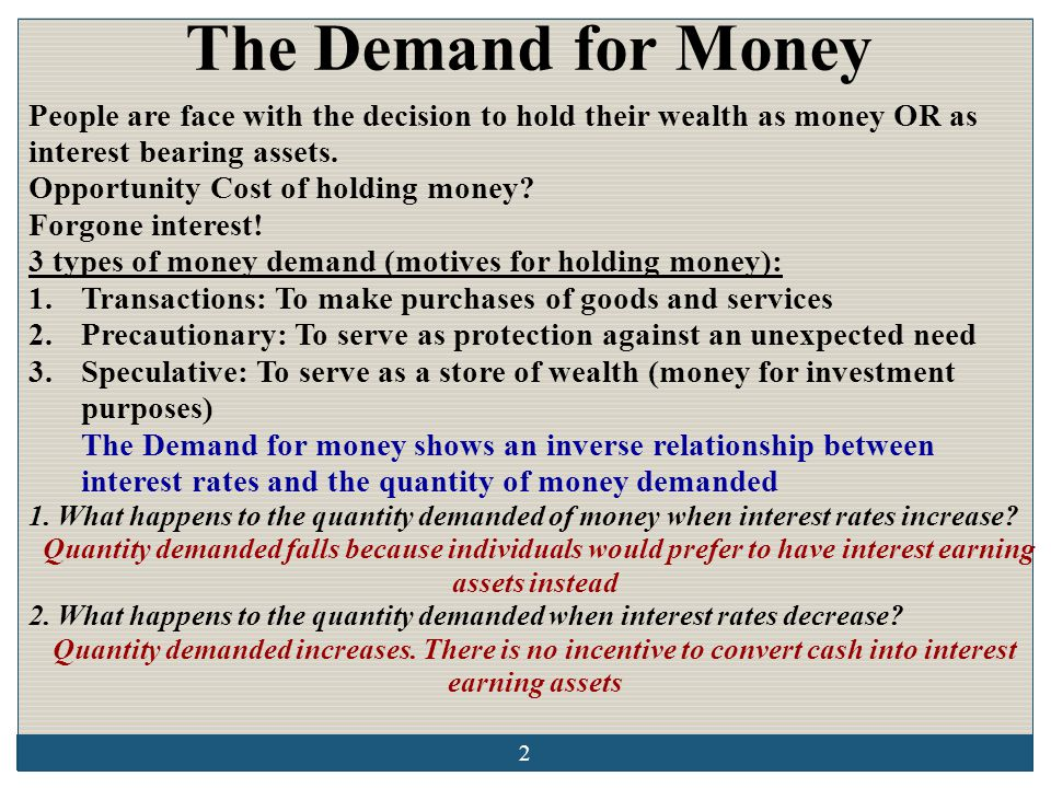 The Demand for Money People are face with the decision to hold their wealth as money OR as interest bearing assets.