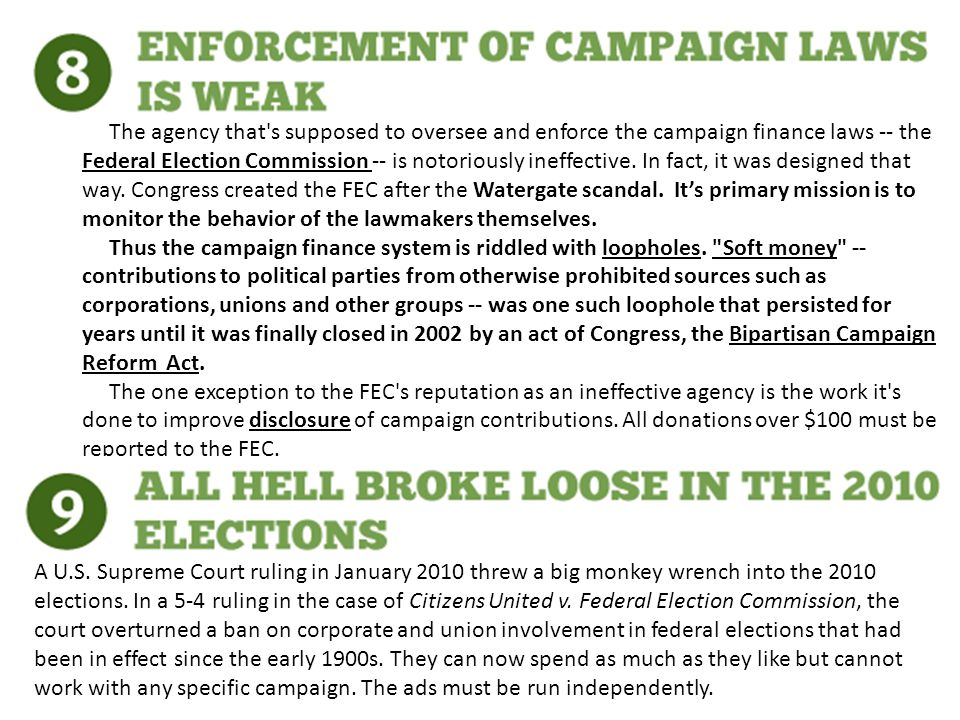 The agency that s supposed to oversee and enforce the campaign finance laws -- the Federal Election Commission -- is notoriously ineffective.