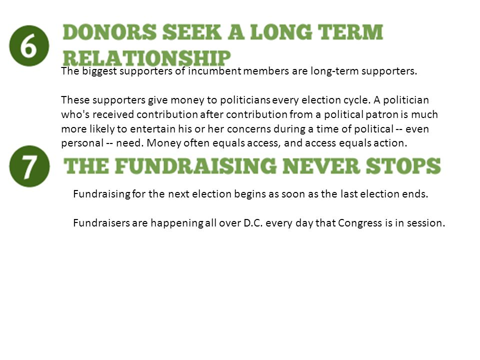 Fundraising for the next election begins as soon as the last election ends.