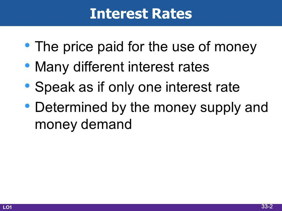 Interest Rates The price paid for the use of money Many different interest rates Speak as if only one interest rate Determined by the money supply and