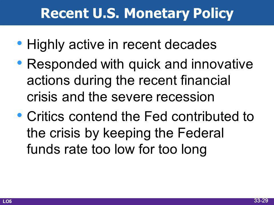 Recent U.S. Monetary Policy Highly active in recent decades Responded with quick and innovative actions during the recent financial crisis and the sev