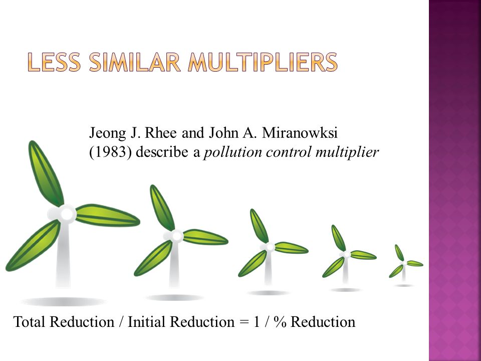 Jeong J. Rhee and John A. Miranowksi (1983) describe a pollution control multiplier Total Reduction / Initial Reduction = 1 / % Reduction