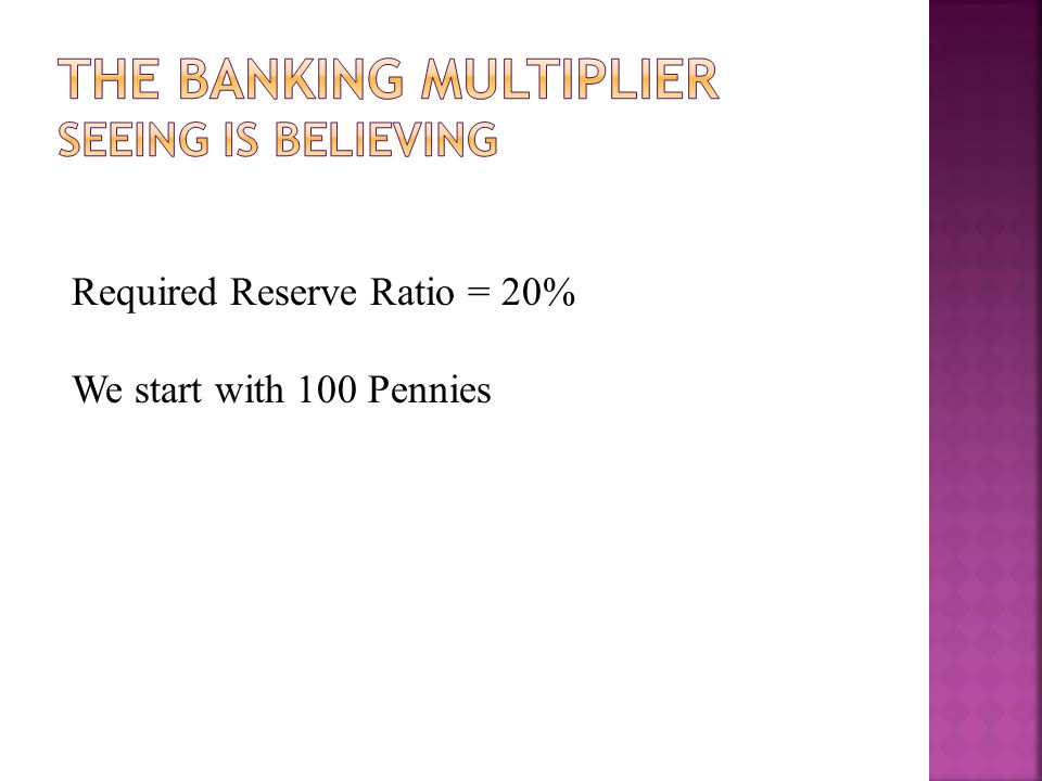 Required Reserve Ratio = 20% We start with 100 Pennies