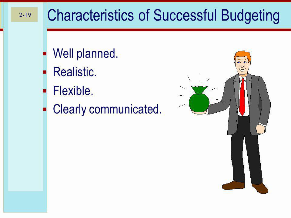 2-19 Characteristics of Successful Budgeting Well planned.
