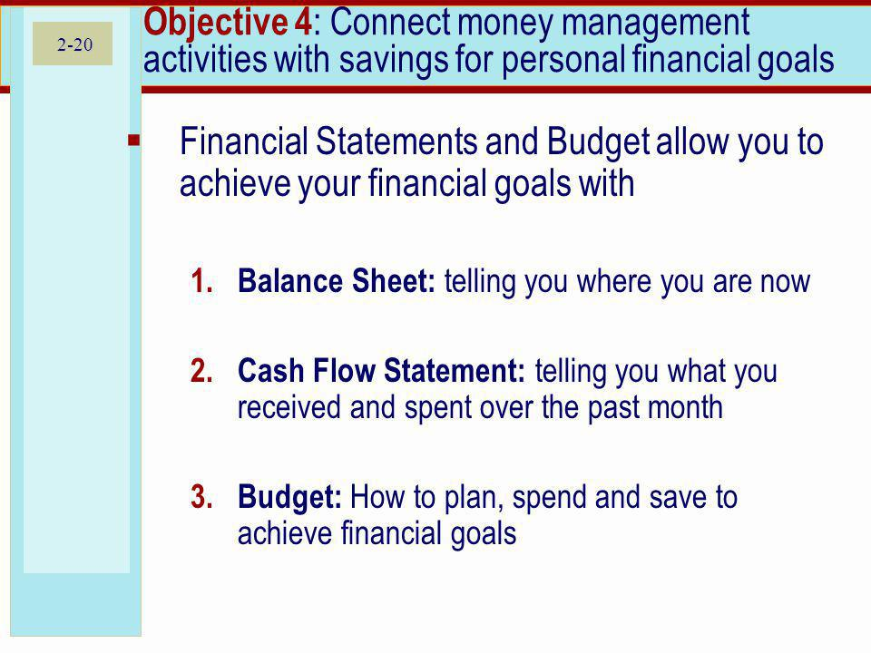 2-20 Objective 4 : Connect money management activities with savings for personal financial goals Financial Statements and Budget allow you to achieve