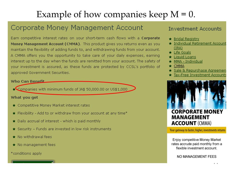 Example of how companies keep M = 0. 14