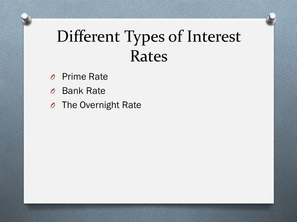 Different Types of Interest Rates O Prime Rate O Bank Rate O The Overnight Rate