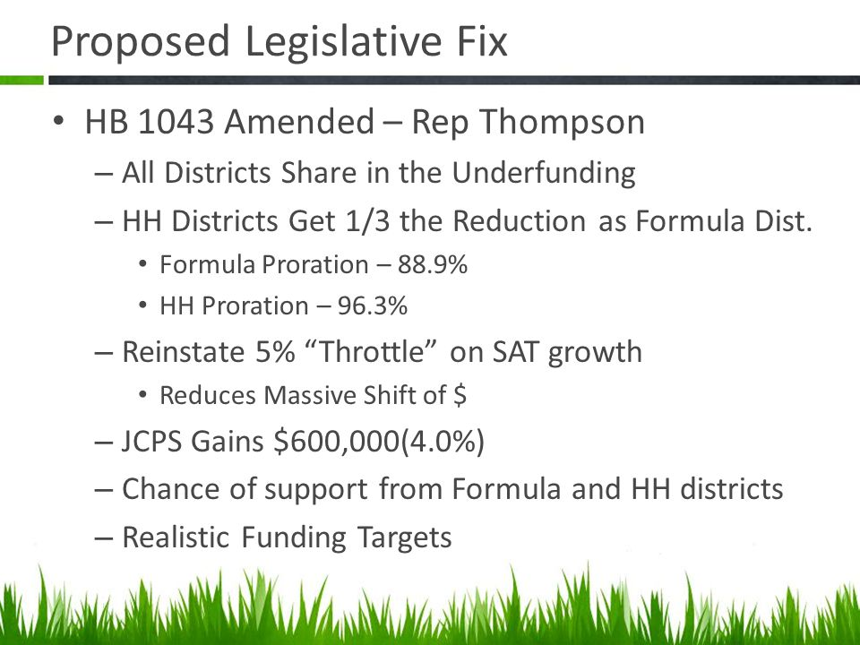 HB 1043 Amended – Rep Thompson – All Districts Share in the Underfunding – HH Districts Get 1/3 the Reduction as Formula Dist.