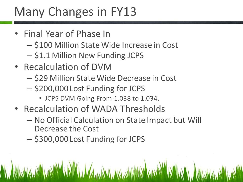 Many Changes in FY13 Final Year of Phase In – $100 Million State Wide Increase in Cost – $1.1 Million New Funding JCPS Recalculation of DVM – $29 Million State Wide Decrease in Cost – $200,000 Lost Funding for JCPS JCPS DVM Going From 1.038 to 1.034.