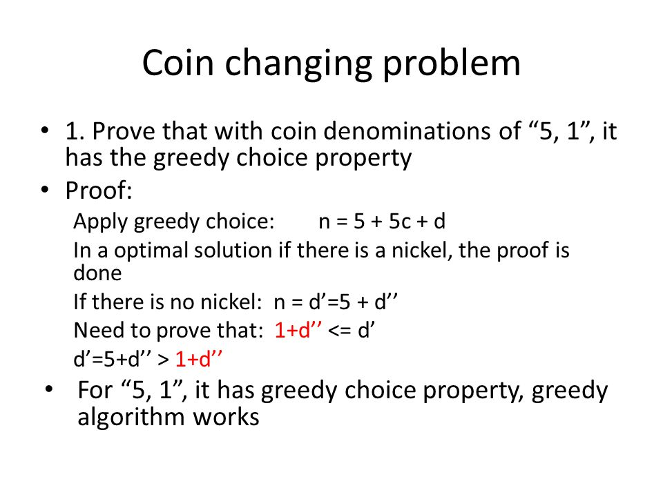 Coin changing problem 1.