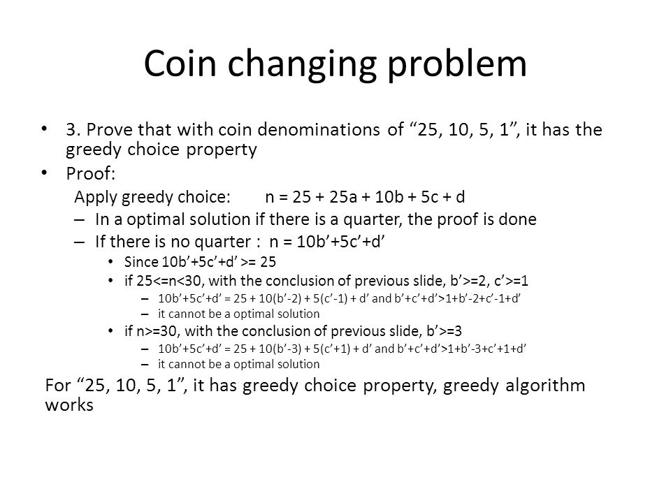 Coin changing problem 3.