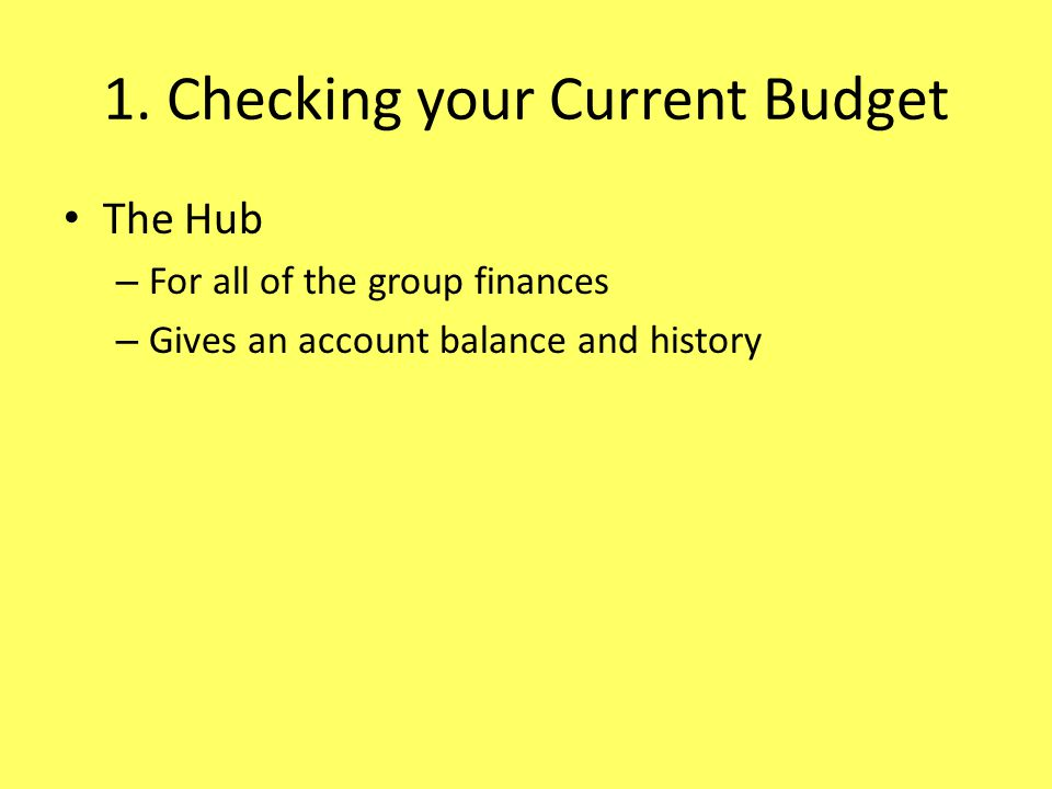 1. Checking your Current Budget The Hub – For all of the group finances – Gives an account balance and history