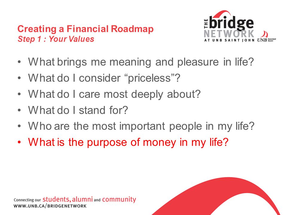 Creating a Financial Roadmap Step 1 : Your Values What brings me meaning and pleasure in life.