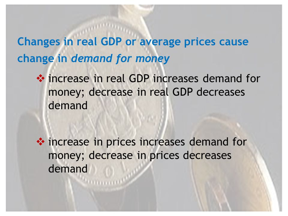 Changes in real GDP or average prices cause change in demand for money increase in real GDP increases demand for money; decrease in real GDP decreases demand increase in prices increases demand for money; decrease in prices decreases demand