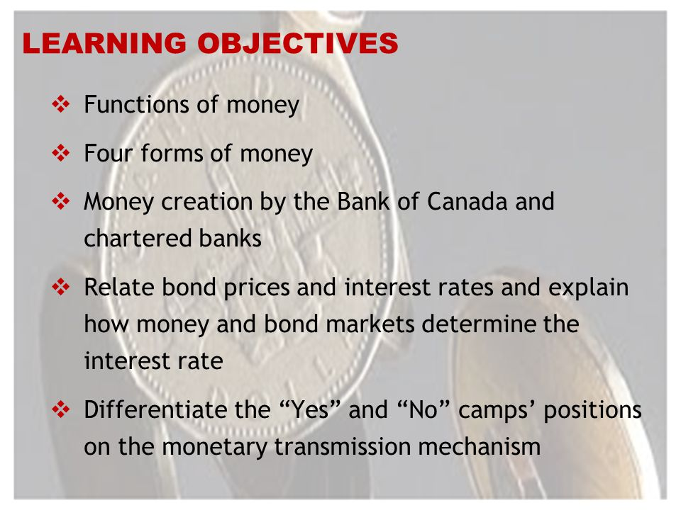LEARNING OBJECTIVES Functions of money Four forms of money Money creation by the Bank of Canada and chartered banks Relate bond prices and interest rates and explain how money and bond markets determine the interest rate Differentiate the Yes and No camps positions on the monetary transmission mechanism