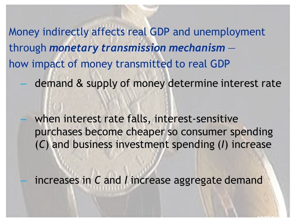 Money indirectly affects real GDP and unemployment through monetary transmission mechanism how impact of money transmitted to real GDP – demand & supply of money determine interest rate – when interest rate falls, interest-sensitive purchases become cheaper so consumer spending (C) and business investment spending (I) increase – increases in C and I increase aggregate demand continued…