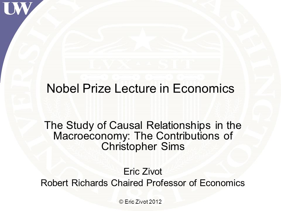 Concluding Remarks Sims changed the way macroeconomists and econometricians model the economy After Sims, the profession moved away from using large scale Keynesian-style structural macro-models and adopted the SVAR approach IRF analysis from SVARs provide the stylized facts from which modern theory-based models are calibrated and evaluated Bayesian methods have become widely accepted © Eric Zivot 2012