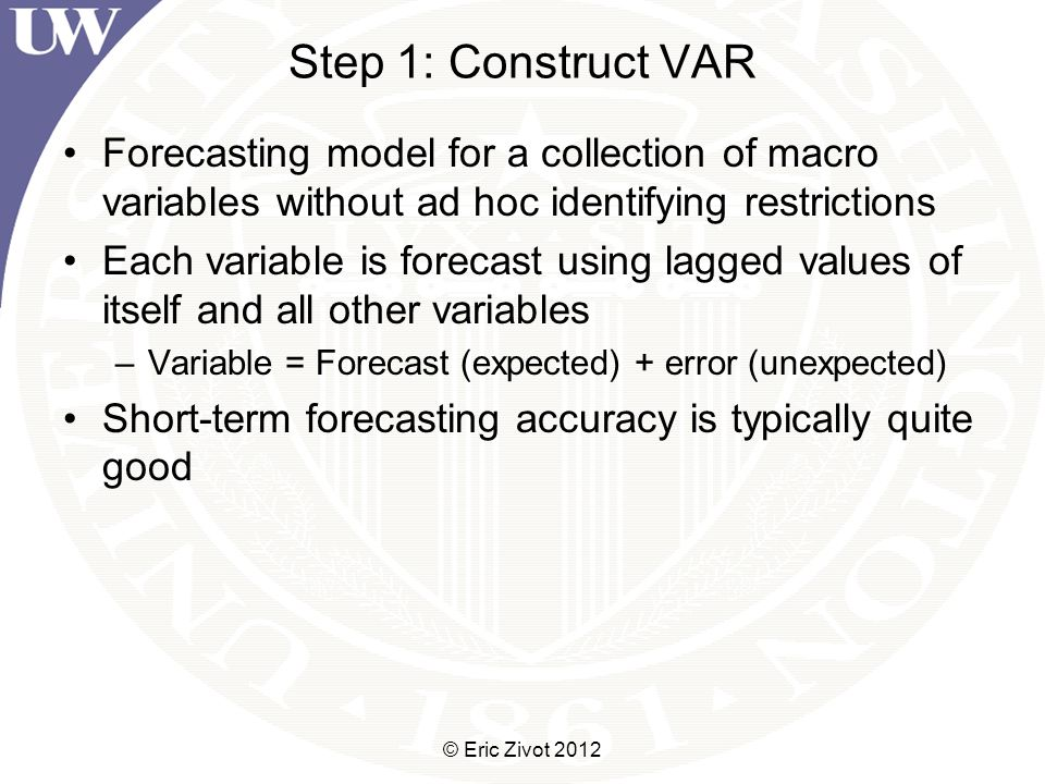 Step 1: Construct VAR Forecasting model for a collection of macro variables without ad hoc identifying restrictions Each variable is forecast using lagged values of itself and all other variables –Variable = Forecast (expected) + error (unexpected) Short-term forecasting accuracy is typically quite good © Eric Zivot 2012