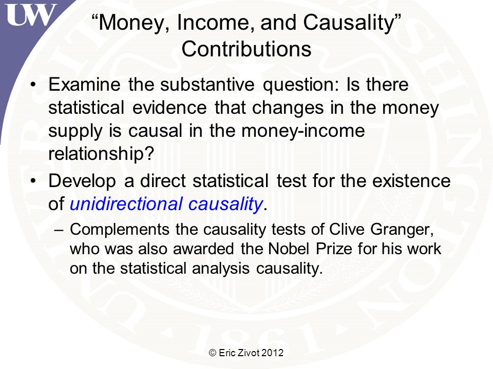Causality Testing: Framework If the monetarists were right in claiming that the strong correlations of money growth with income primarily reflected a causal influence of monetary policy errors on income, future money growth should not contribute to explaining current income, once the influence of current and past money growth on income had been accounted for.