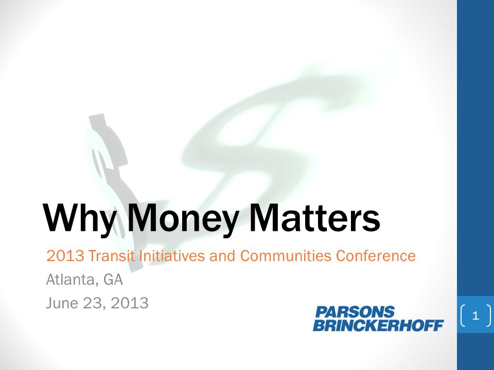 So, why does money matter.