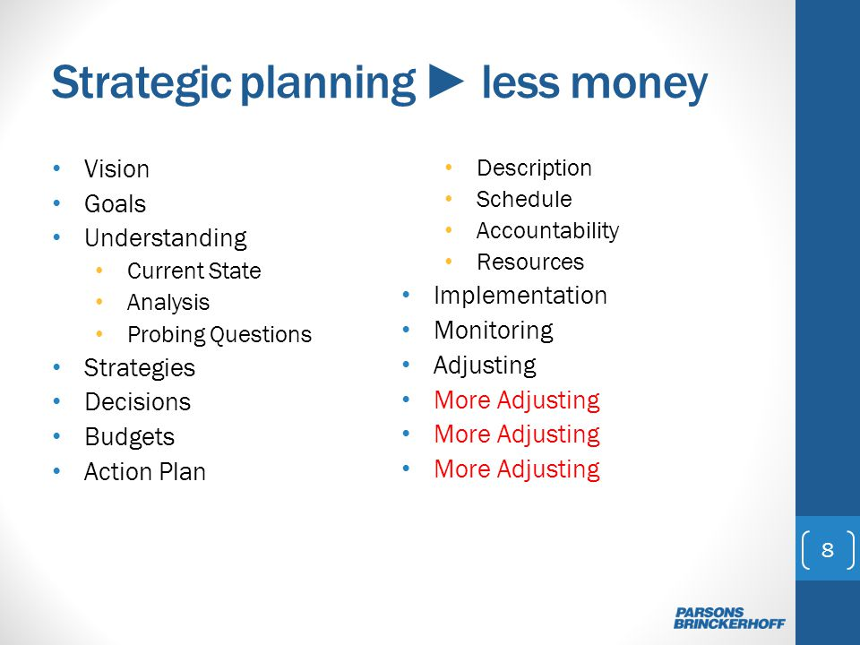 Strategic planning less money Vision Goals Understanding Current State Analysis Probing Questions Strategies Decisions Budgets Action Plan Description Schedule Accountability Resources Implementation Monitoring Adjusting More Adjusting 8