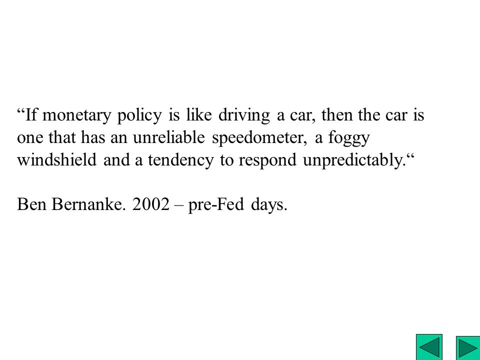 If monetary policy is like driving a car, then the car is one that has an unreliable speedometer, a foggy windshield and a tendency to respond unpredictably.