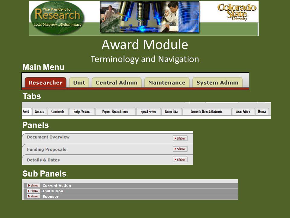 Award Module Terminology and Navigation Main Menu Tabs Panels Sub Panels