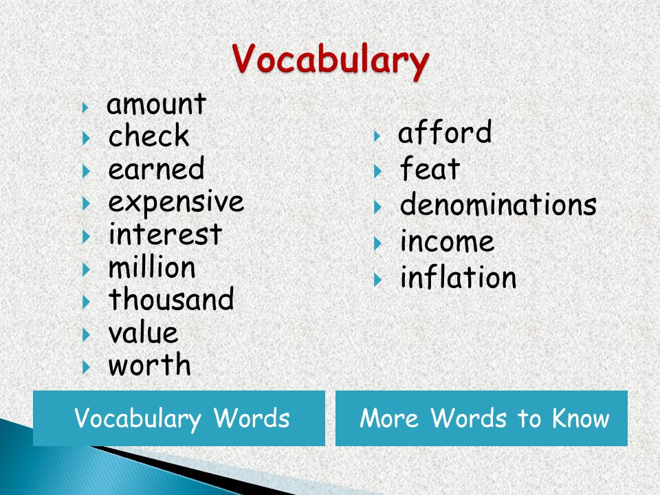 Vocabulary WordsMore Words to Know amount check earned expensive interest million thousand value worth afford feat denominations income inflation