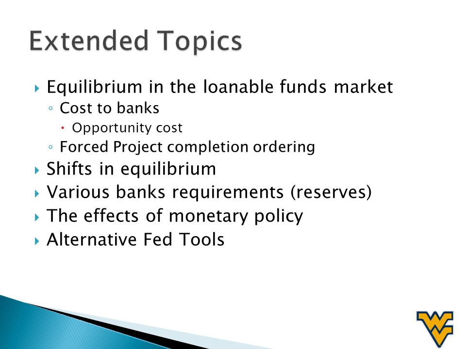Equilibrium in the loanable funds market Cost to banks Opportunity cost Forced Project completion ordering Shifts in equilibrium Various banks require