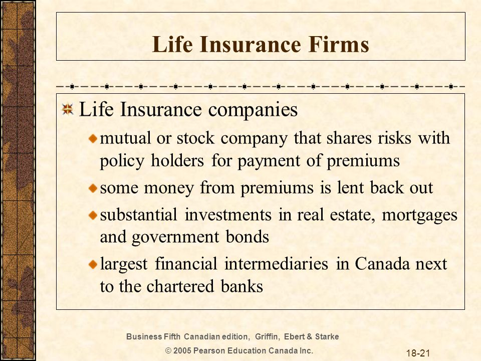 Business Fifth Canadian edition, Griffin, Ebert & Starke © 2005 Pearson Education Canada Inc. 18-21 Life Insurance Firms Life Insurance companies mutu