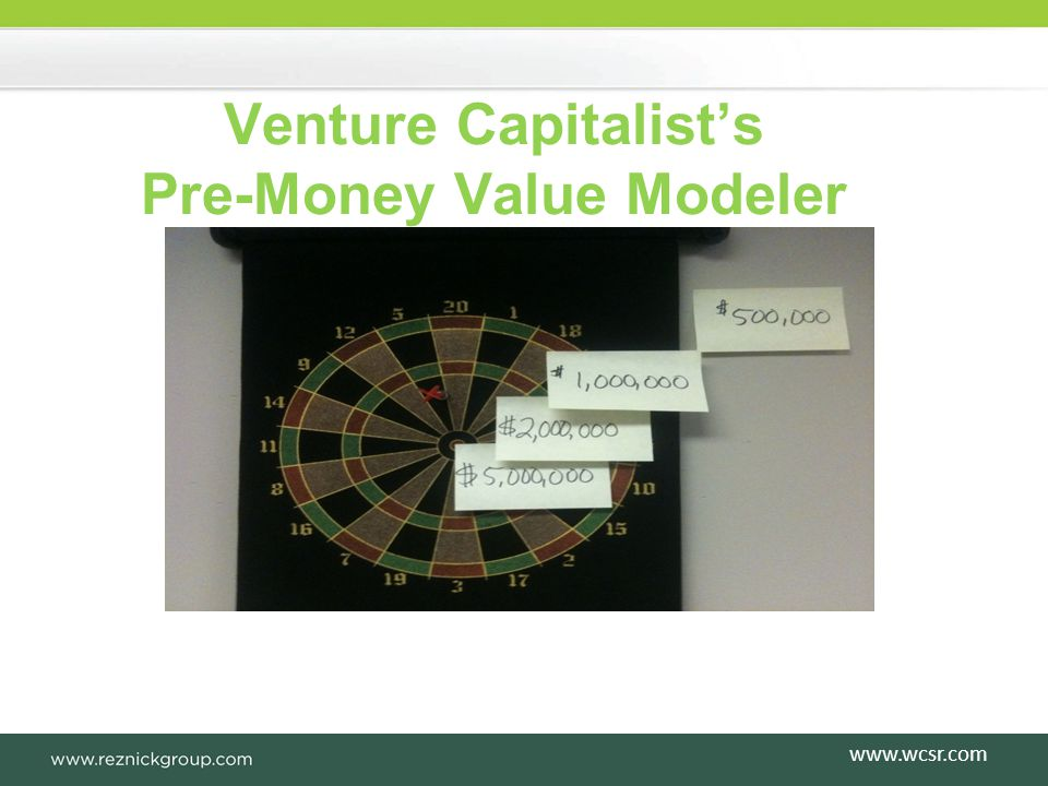 Venture Capitalists Pre-Money Value Modeler www.wcsr.com