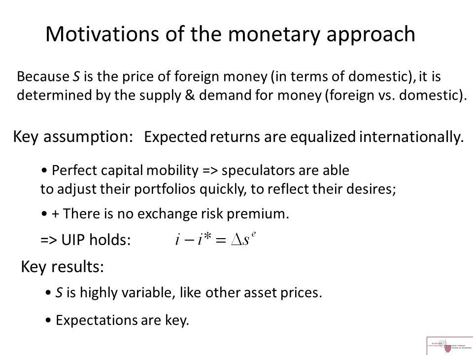 Interest rate parity + Money demand equation + Flexible goods prices => PPP => monetarist or Lucas models.