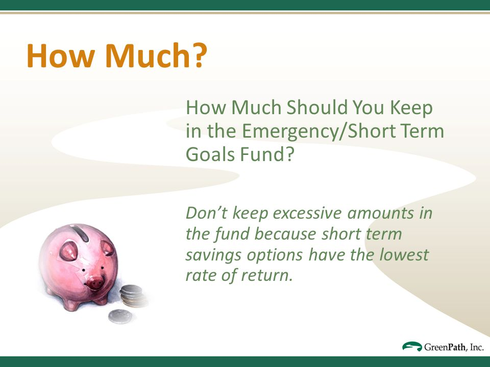 How Much. How Much Should You Keep in the Emergency/Short Term Goals Fund.