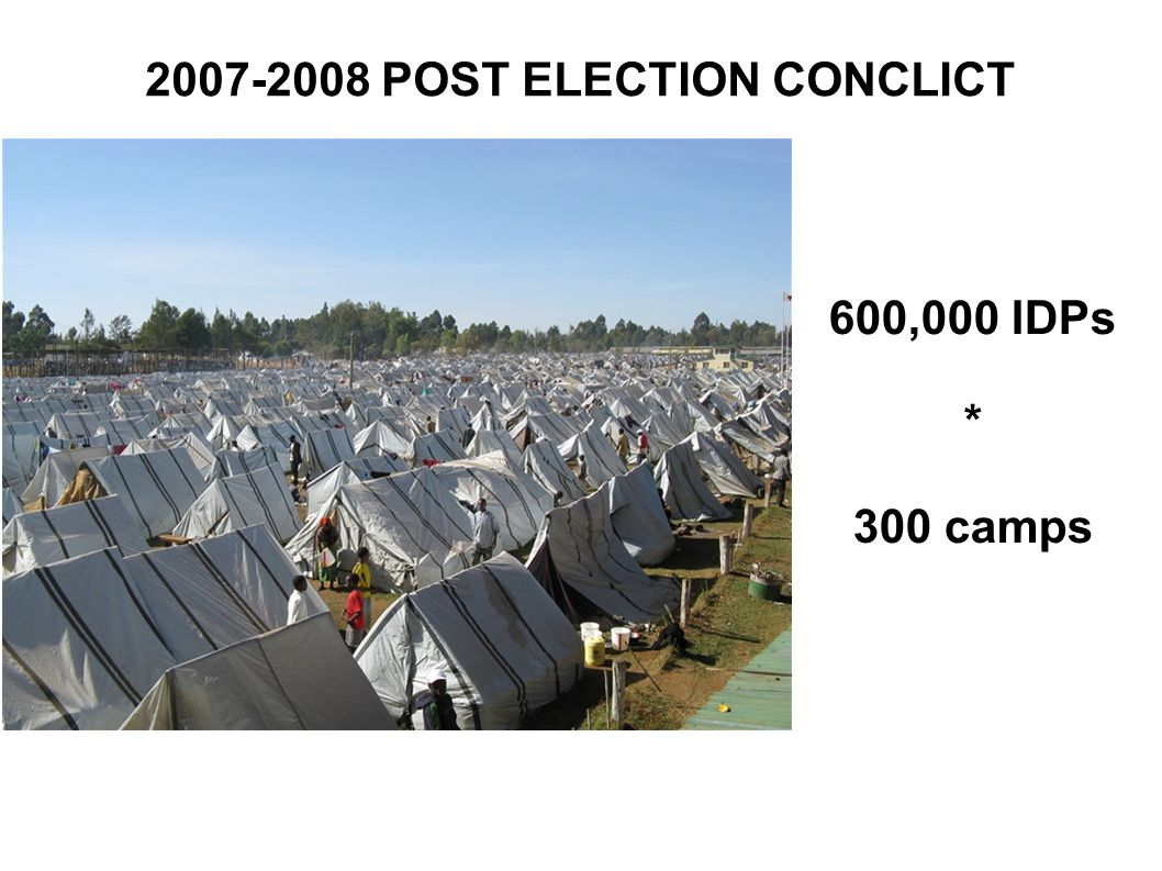 POST ELECTION CONCLICT 600,000 IDPs * 300 camps