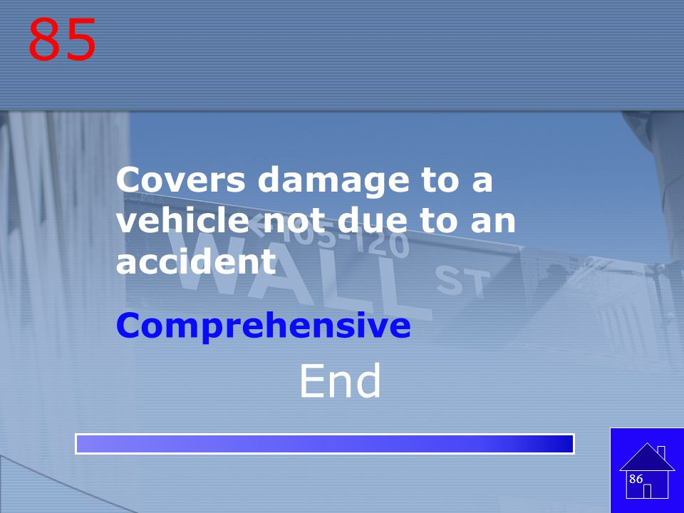 84 Insurance that covers damage to a vehicle due to an accident Collision 85 End