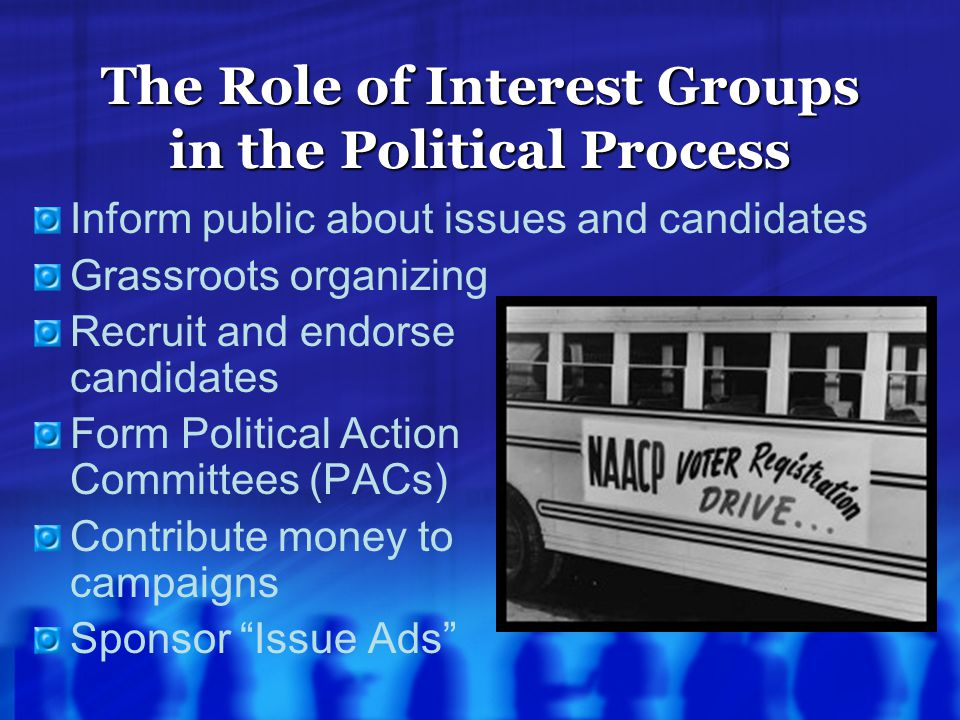 The Role of Interest Groups in the Political Process Inform public about issues and candidates Grassroots organizing Recruit and endorse candidates Fo