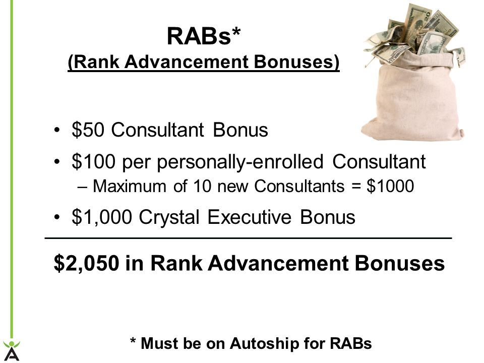 RABs* (Rank Advancement Bonuses) $50 Consultant Bonus $100 per personally-enrolled Consultant –Maximum of 10 new Consultants = $1000 $1,000 Crystal Executive Bonus $2,050 in Rank Advancement Bonuses * Must be on Autoship for RABs
