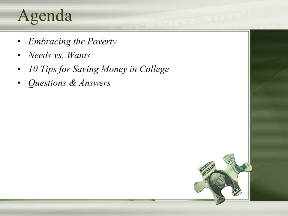 Agenda Embracing the Poverty Needs vs.