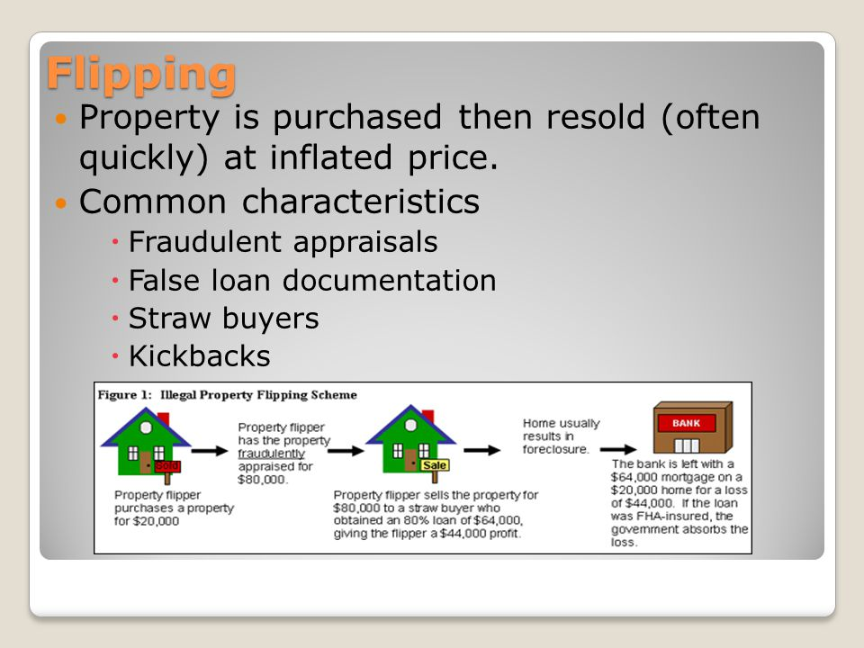 Flipping Property is purchased then resold (often quickly) at inflated price.