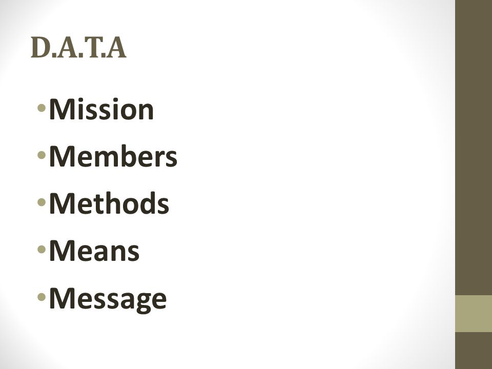 D.A.T.A Mission Members Methods Means Message