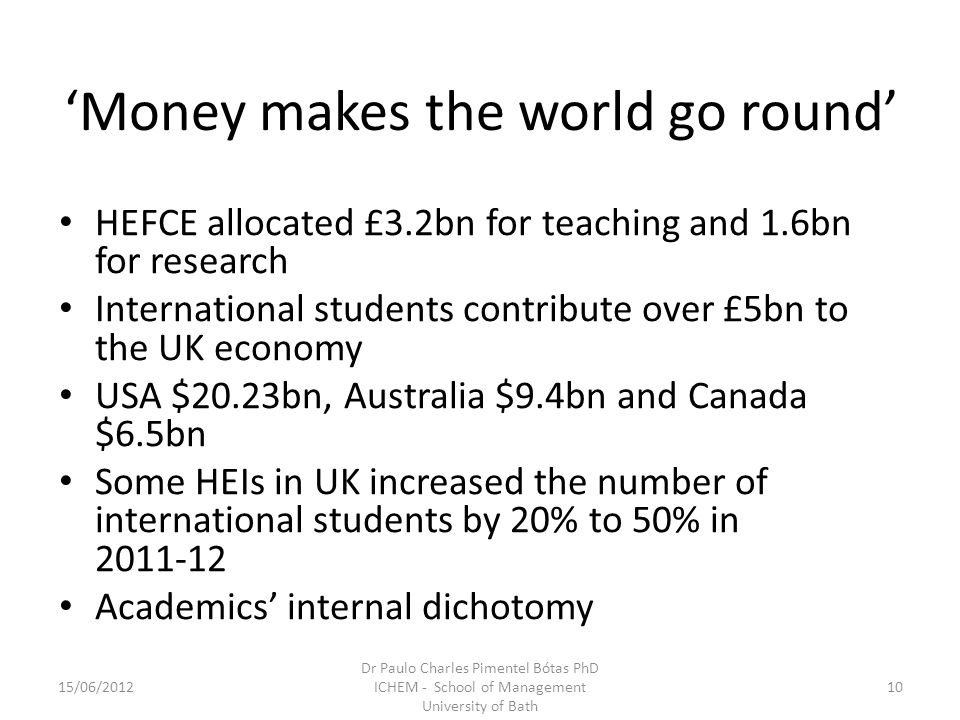 Money makes the world go round HEFCE allocated £3.2bn for teaching and 1.6bn for research International students contribute over £5bn to the UK economy USA $20.23bn, Australia $9.4bn and Canada $6.5bn Some HEIs in UK increased the number of international students by 20% to 50% in 2011-12 Academics internal dichotomy 15/06/201210 Dr Paulo Charles Pimentel Bótas PhD ICHEM - School of Management University of Bath