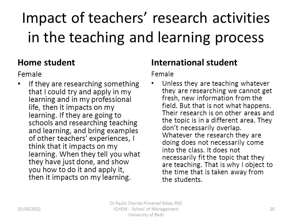 Impact of teachers research activities in the teaching and learning process Home student Female If they are researching something that I could try and