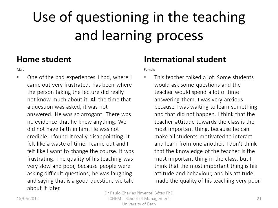 Use of questioning in the teaching and learning process Home student Male One of the bad experiences I had, where I came out very frustrated, has been