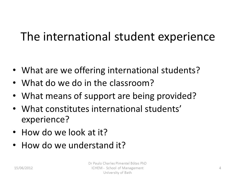 The international student experience What are we offering international students.
